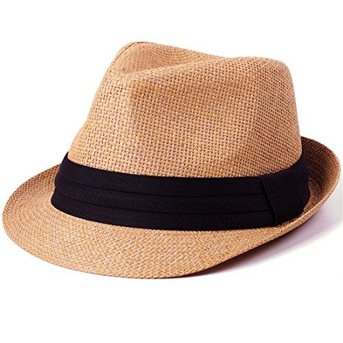 CHH Hat Jazz Cap Stroh Männer's Hut Sonnenhut Strand C (Mann Classic Dye Tie)