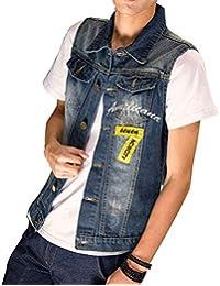 Rmellos Veste en Jean Déchiré Denim Vest Gilet en Jean Vêtements Tops Tops  Cowboy Slim Fit d46b0d3ebe53