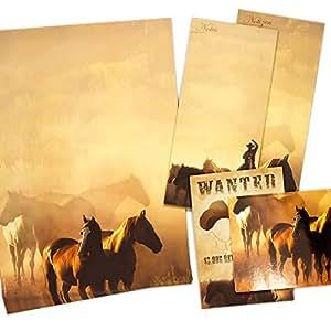 TATMOTIVE Pferde Briefpapier beidseitig DIN A4 90g, mit 2 x 5 Postkarten, 50 Blatt - braun