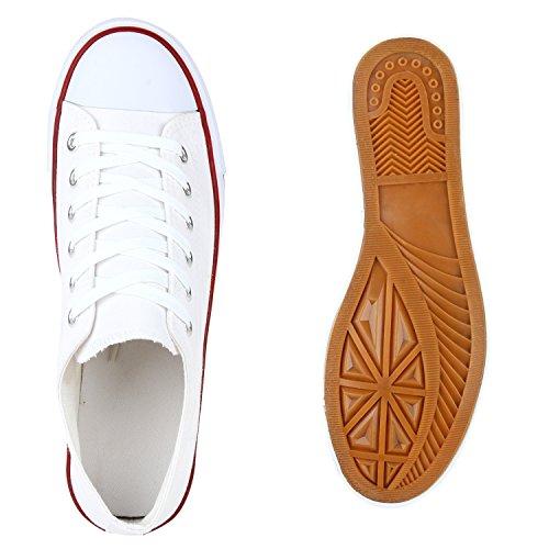 Sportliche Herren Sneakers Low Turnschuhe Textil Schuhe Flats Weiß
