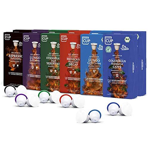 Kaffee-Club-Box - 12 x 10 BIO Kaffeekapseln von My-CoffeeCup | Kompatibel mit Nespresso®-Maschinen | 100{767f36b383c4a85cd6d3269bb9f2a9f11cbed9d98143bb6083adbc5ab8483061} kompostierbare Kapseln ohne Alu | 120 Kapseln 6 Sorten