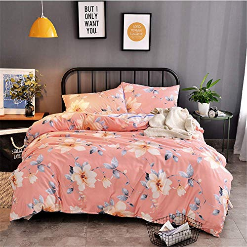 SHJIA Heimtextilien Bettbezug Kissenbezug Bettlaken Bettwäsche Set King Queen Twin Deep Pink 180x220cm -
