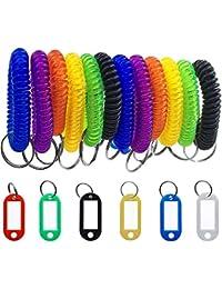 12 Bracelet Porte-clés et 6 pièces principales balises,SENHAI spiral Bracelet Porte-clés pour gym piscine badges d'identification,pour porte-clés pour animal domestique Sac de voyage