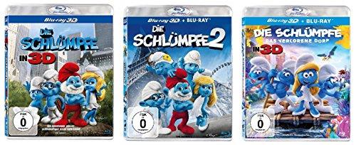 3D - Die Schlümpfe 1+2+3 das verlorene Dorf im Set - Deutsche Originalware [5 Blu-rays ]