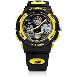 Leopard Shop HOSKA H003B Multifunctional Children Sport Watch Dual Movement Chronograph Calendar Alarm EL Backlight LED Wristwatch Water Resistance Yellow Black