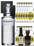 Gin-Set The Botanist Islay Dry Gin 0,7 Liter + Windspiel Premium Dry Gin Deutschland 0,04 Liter + Filliers Premium Dry Gin Belgien 0,05 Liter MINIATUR, 12 x Goldberg Tonic Water 0,2 Liter + 2 Schieferuntersetzer quadratisch 9,5 cm