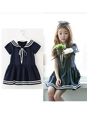 Mädchen Kleider Sommer Sailor Baumwolle Wild College Wind Prinzessin Rock Big Kind Navy Wind Short Sleeve, baumwolle...