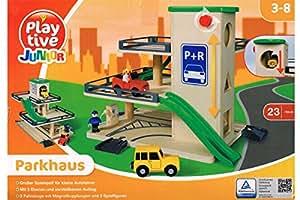 Playtive Junior® Echt Holz Parkhaus - Großer Spielspaß 23-Teilig
