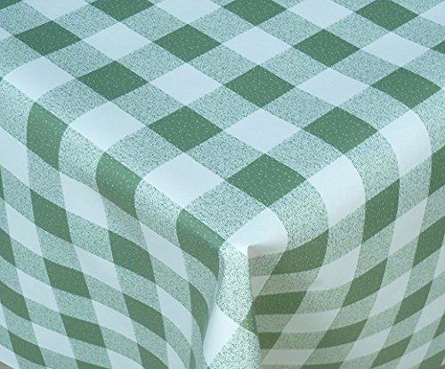 Vichy Nappe en vinyle PVC écran rectangle rond ovale Tailles facile à nettoyer, Green Gingham, 140 x 200cm OVAL