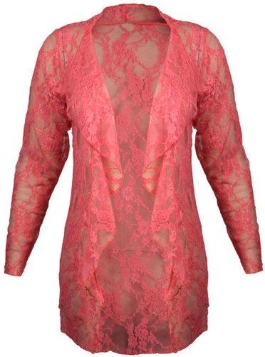 Funky Boutique Cardigan cascade en dentelle Motif Floral avec dentelle Cardigan Boyfriend aspect Rouge - Corail