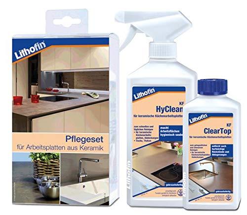Lithofin® Pflegeset -compact- für Arbeitsplatten aus Keramik 750 ml - PROFESSIONELLE Reinigung von Keramik - LANGZEITWIRKUNG - Reinigung Keramik