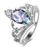 Schmuck Damen Ring,Dragon868 Bunter Diamant Kronen Ring weiblicher Art Ring (8, Mehrfarbig)
