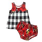 JERFER Baby Set Neugeborene ärmellose Karierte Blumen Weste Tops + Floral Shorts Outfits Set