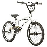 Probike, BMX 20 Zoll, Freestyle Bike, BMX, 360° Rotor-System, 4 stahl Pegs, Kettenschutz, Freilauf (Weiß-Schwarz)