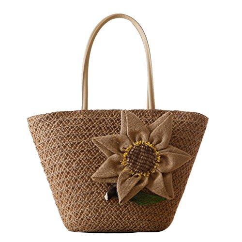 YOUJIA Damen Strandtaschen Stroh Taschen Totes Blumen Handtaschen Shopper Boho Schultertaschen #7 Braun