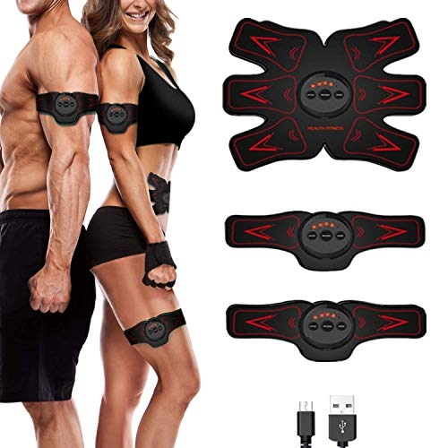 sakobs Bauchtrainer, EMS Trainingsgerät Bauchmuskeltrainer Muskelstimulator mit 6 Modi und 10 Intensitäten für Muskelstimulation /-Regeneration, via USB Aufladen, Rot