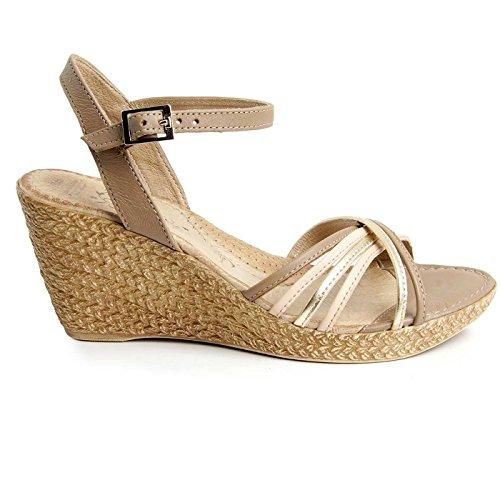 Batz GLORIA di Alta Qualità Sandali Estivi con Cinghia Posteriore in Pelle da Donna Oro Mix
