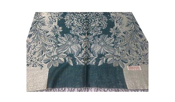 Wrap w Scarf Beautiful Teal Green Jamavar Floral Design Pashmina Style Shawl