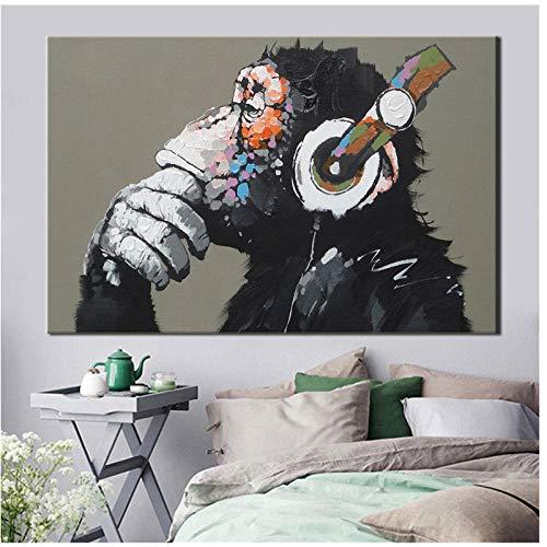 xwwnzdq Moderne lustige Denken AFFE mit kopfhörer Tier Bild leinwand malerei wandkunst gedruckt Poster für Wohnzimmer dekor