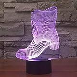 Kleine/kleine Nachtlicht, 3D Prinzessin Stiefel Lampe Kreative Touch-Schalter Kleine Nachtlicht Vision Stereo Lampe Sieben Farbwechsel Für Mädchen Geschenk Spielzeug Geburtstag Geschenke Shop