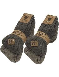BRUBAKER lot de 4 paires de épaisses chaussettes tricotées pour les femmes et les hommes 100% alpaga