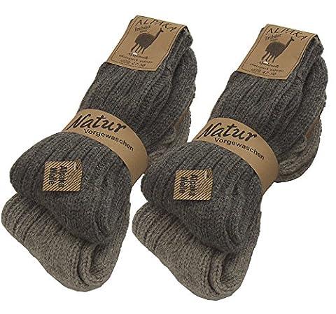 4 Paar BRUBAKER Alpaka Socken Grautöne 100% Alpaka 39-42