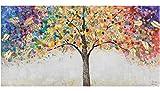 KunstLoft Acryl Gemälde 'Locus Amoenus' 120x60 | original handgemalte Leinwand Bilder XXL | Baum Natur Bunt Gold | Wandbild Acrylbild Moderne Kunst einteilig mit Rahmen