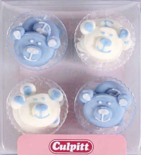 12 Blu Cucciolo Di Orso Decorazioni In Zucchero