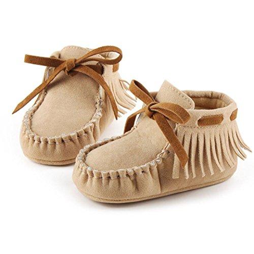 Hunpta Baby Kleinkind Säugling Neugeborenes Prewalker Stiefel Quaste Schuhe weiche Sohle Khaki