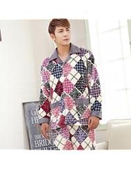 &zhou pijama hombre ocio cardigan suelto mantenga caliente pijama grueso hogar ropa de invierno , 7 , xxl
