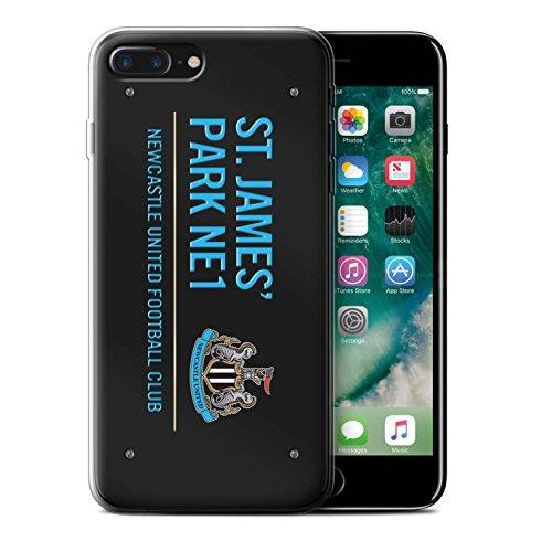 Offiziell Newcastle United FC Hülle / Gel TPU Case für Apple iPhone 7 Plus / Weiß/Blau Muster / St James Park Zeichen Kollektion Schwarz/Blau