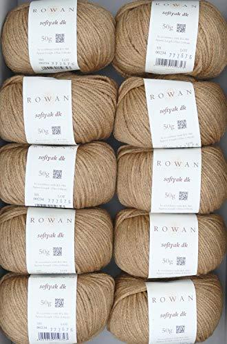 Rowan 500g Wollpaket Softyak dk Fb. 234 Savanna, 10x50g edle Wolle zum Stricken und Häkeln, Wolle Paket Restposten -