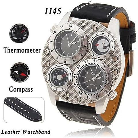 OULM avventura Men & # 39; s al quarzo orologio da polso con bussola e termometro funzione 25mm cinturino in pelle, colore:
