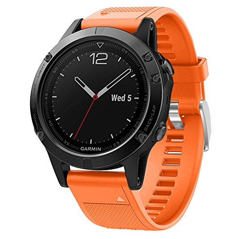 Aresh für Fenix 5 Silikon Zubehör Armband, Easy Fit Soft Silikon Uhrenarmband für Garmin Fenix 5 -Nicht fit Fenix 5S / Fenix 5X (Orange)