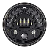 #9: AllExtreme EXT7H1P 7 Inch Teeth LED Round Headlight with Turn Signal Indicator & Hi/Low Beam for Bullet, Mahindra Thar (70W)