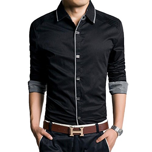 Jeansian Hommes Fashion Shirt Chemises Casual Manches Longues Men Casual Shirt Slim Fit Tops MCF002 Black