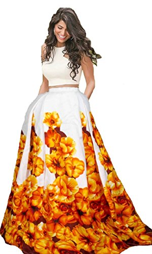 Nena Fashion Women's Silk Lehenga Choli (Nf- Yellow Printed Lc_Yellow_Free Size, Semi-Stitched...