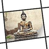creatisto Fliesen zum Aufkleben   Klebe-Fliesenaufkleber Küchenfliesen Bad-Folie Wanddeko   25x20 cm Erholung Wellness Relaxing Buddha - 1 Stück