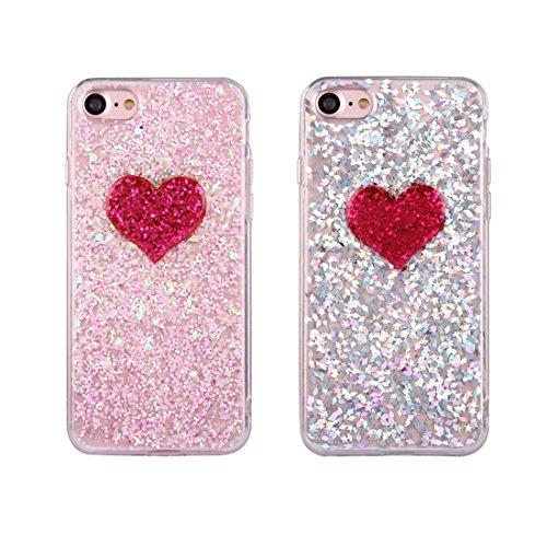 iPhone Case Cover Pour iPhone 7 Glitter Poudre Coeur Motif TPU Soft Protecteur Back Cover Case ( Color : Pink ) Pink