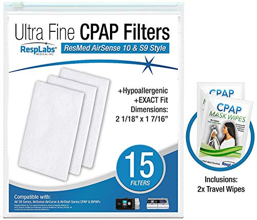 RespLabs CPAP Filters Compatible with AirSense, AirCurve - S9, AirStart, Autoset 10 | Disposable, Universal Replacement Filter Kit [15 Pack] -