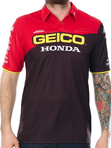 camisa-manga-corta-100-percent-honda-geico-team-pit-negro-s-negro