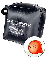 jushen bolsa de ducha de 40L calefacción Solar senderismo Camping campamento ducha bolsa caso (negro)