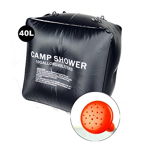 PRIMI 40L Nützliche Camping Tragbares Solar Douche Tasche (schwarz) (Pvc-rohr Riemen)
