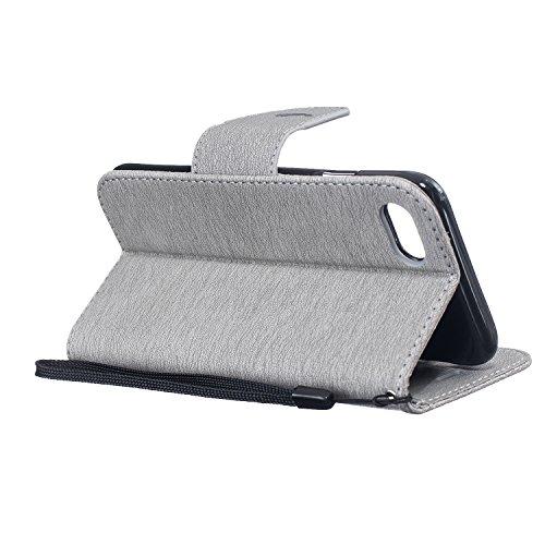 Cozy Hut iPhone 7 Coque,Ultra Slim Mince Flip PU Cuir Housse Etui coque housse pour iPhone 7 Avec Intérieur Slip poches pour les cartes (plumes d'oiseaux) - noir gris