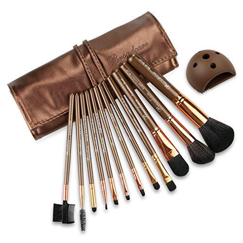 BROADCARE 12Pcs Set de Brochas de Maquillaje Profesionales Cepillos Pínceles de Maquillaje con Mango de Madera Productos Cosméticos para Labios Ojos Rostro + Bolsa Funda de de Cuero PU