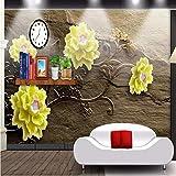 Wmbz Gelbe Blume Des Foto-Hintergrundfotografie-3D Prägte Braunes Raumschlafzimmerpapierwandgemälde-3D Papel De Parede-350X250Cm