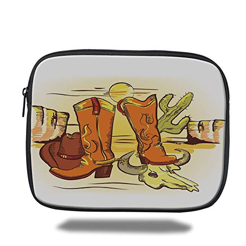 Laptop Sleeve Case,Western,Artistic Composition with Cowboy Accessories Boots Hat Skull in Hot Desert,Orange Yellow Green,Tablet Bag for Ipad air 2/3/4/mini 9.7 inch