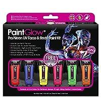 PaintGlow Neon UV Face Paint Box Set UV Glow Neon Face Paint, neon face paint kit, body paint kit, glow in the dark body paint, neon paint, uv face paints, uv body paints