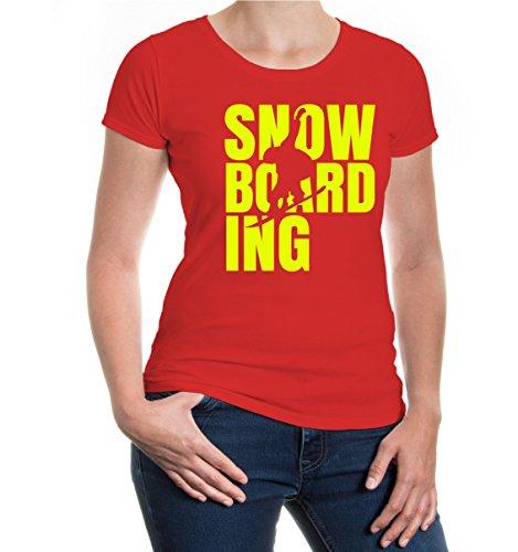 buXsbaum Girlie T-Shirt Snowboarding Type-XXL-Red-Neonyellow (Forum Snowboard-t-shirt)