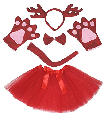 Deer Kostüm Schwanz - Petitebelle 3D-Stirnband Bowtie Schwanz Handschuhe Tutu 5pc Mädchen-Kostüm Einheitsgröße 3D Rot Deer Rentier